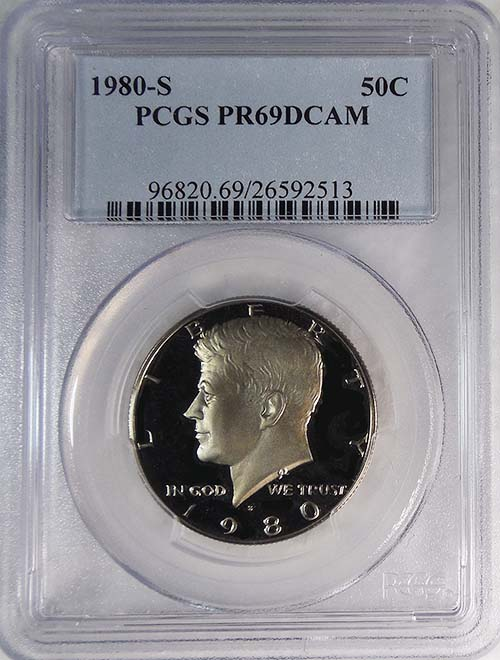 1980-S PCGS PR69DCAM Kennedy Half Dollar Presidential Label