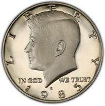 1985-S PROOF KENNEDY HALF DOLLAR