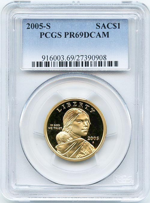 New PCGS Label 2005-S PCGS PR69DCAM SAC Dollar