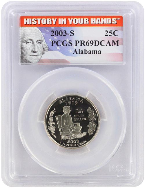 2003-S PCGS PR69DCAM Alabama SILVER Statehood Quarter