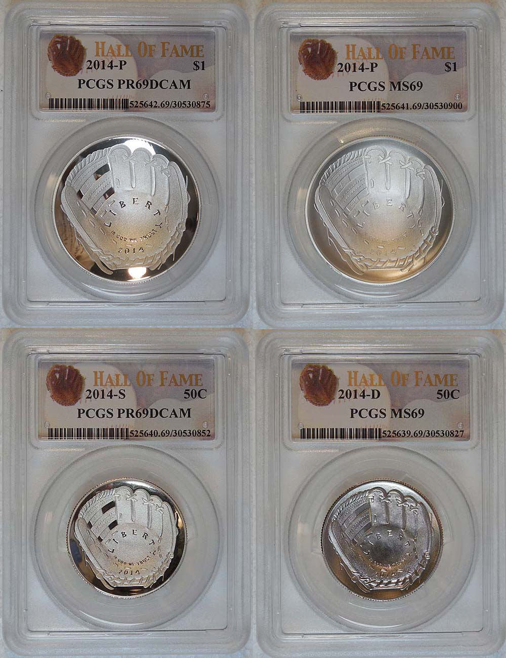 First Strike Hall of Fame Label 2014-P US Baseball Proof Silver $1 PCGS PR69